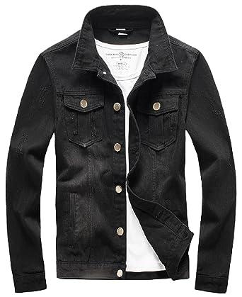 6d1b144c0 XueYin Men's Denim Jacket Slim Fit at Amazon Men's Clothing store: