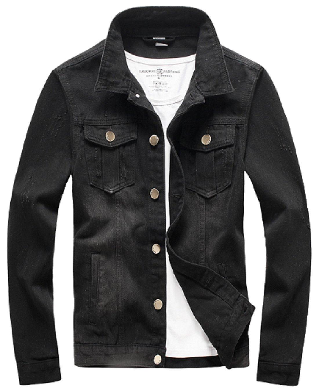 XueYin Men's Denim Jacket Slim Fit(Black,L size)