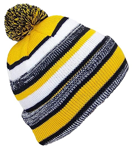 e1cfcf9a75157 Best Winter Hats Quality Striped Variegated Cuffed Cap W/Large Pom (One  Size) - Black/Gold