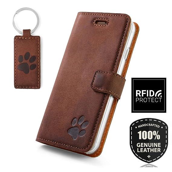SURAZO Apple iPhone 6 Plus / 6s Plus - Hund Pfote - RFID Premium Ledertasche Schutzhülle Wallet Case aus Echtesleder Farbe Nu