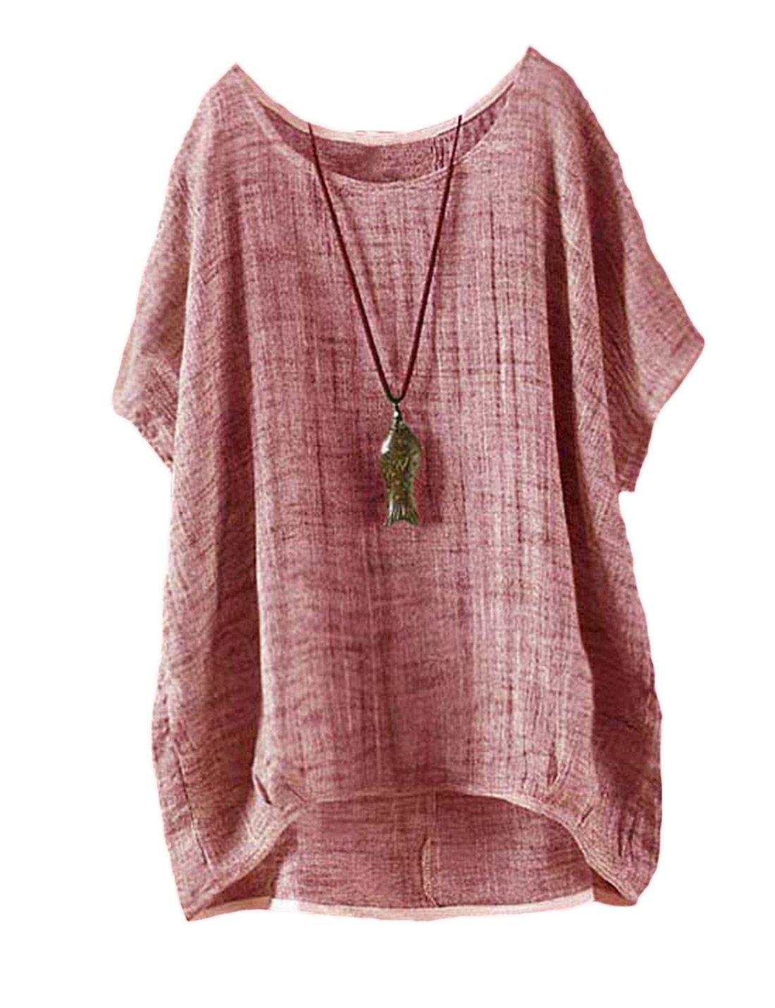 Les Femmes Au Linge Manches Courtes Coton Plussize Tunique De Bas en Haut, Lâche T - Shirt