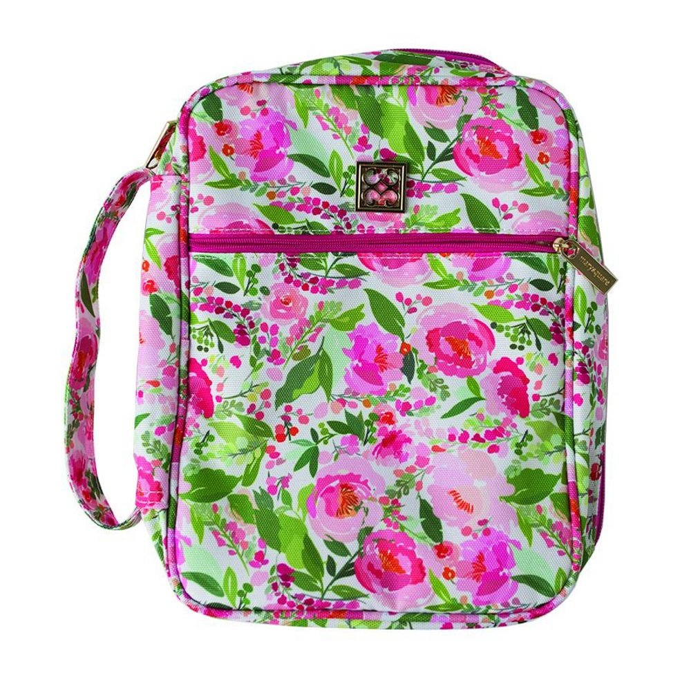 Charlotte Floral 8 x 10.5 Inch Polyester Zippered Bible Cover Case with Handle