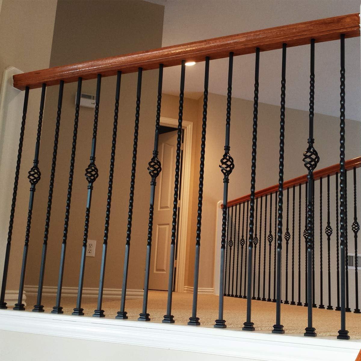 Balaustres de hierro para escalera de largo giro (paquete de 15), huecos de metal para riel de escalera, huecos de 1/2 x 44 pulgadas de alto, balaustres de satén negro: Amazon.es: Bricolaje