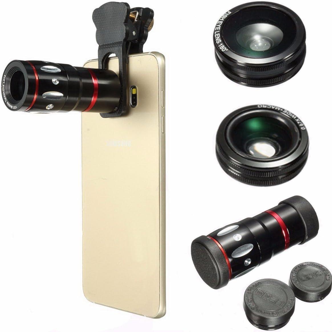 Babiken 4 en 1 Lente de cámara para teléfono móvil – Zoom teleobjetivo + Lente Ojo de pez para teléfono + Lente Amplia y Lente de cámara Macro para iPhone 8/Samsung S7,S8/Huawei