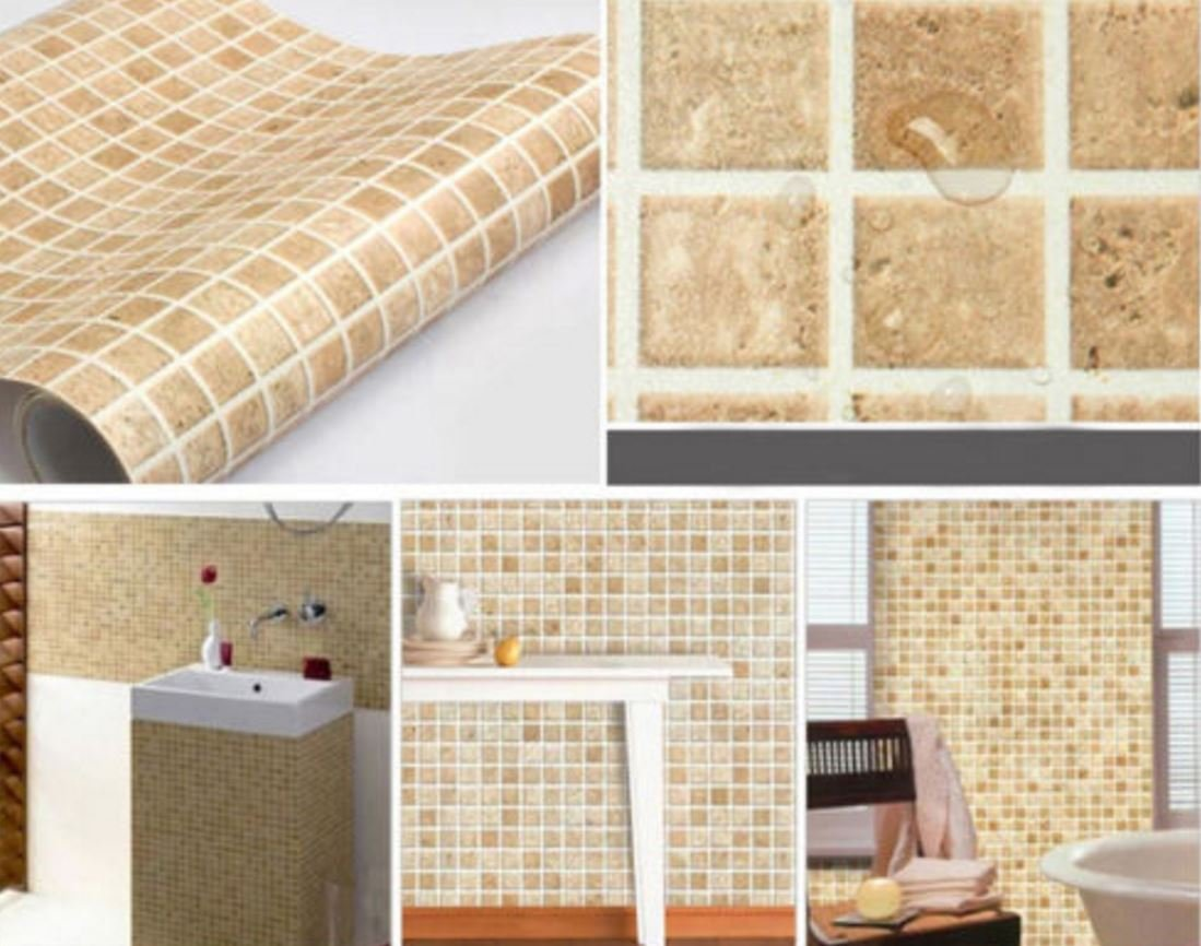 Amazon.com: wall paper adhesive Self-adhesive Mosaic Wall Paper ...