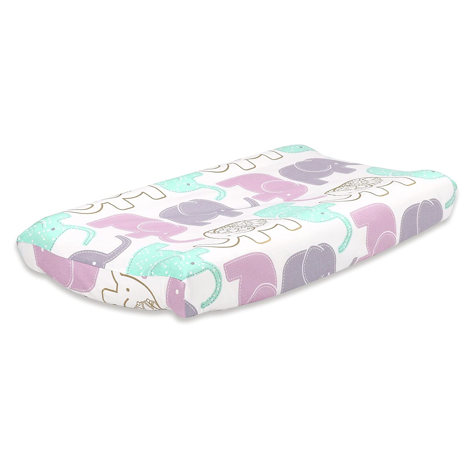 Grey Elephant Print Cotton Changing Pad Cover by The Peanut Shell Farallon Brands CPCELGY