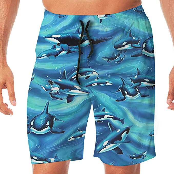 21f08765b6 Amazon.com: Killer Whale Men's Quick Dry Printed Beach Shorts Swim ...