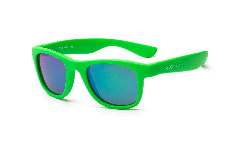 Koolsun Baby e occhiali da sole per bambini Wave Fashion 1+ | Neon Green specchiate | 100% protezione UV | Optical Clas 1, Cat. 3 WANG001