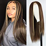 MISSWIG Long Mix Brown Wig Straight Hair Wigs for Black Women,Straight Brown Blonde Wig Cosplay Long Hair Halloween Costumes