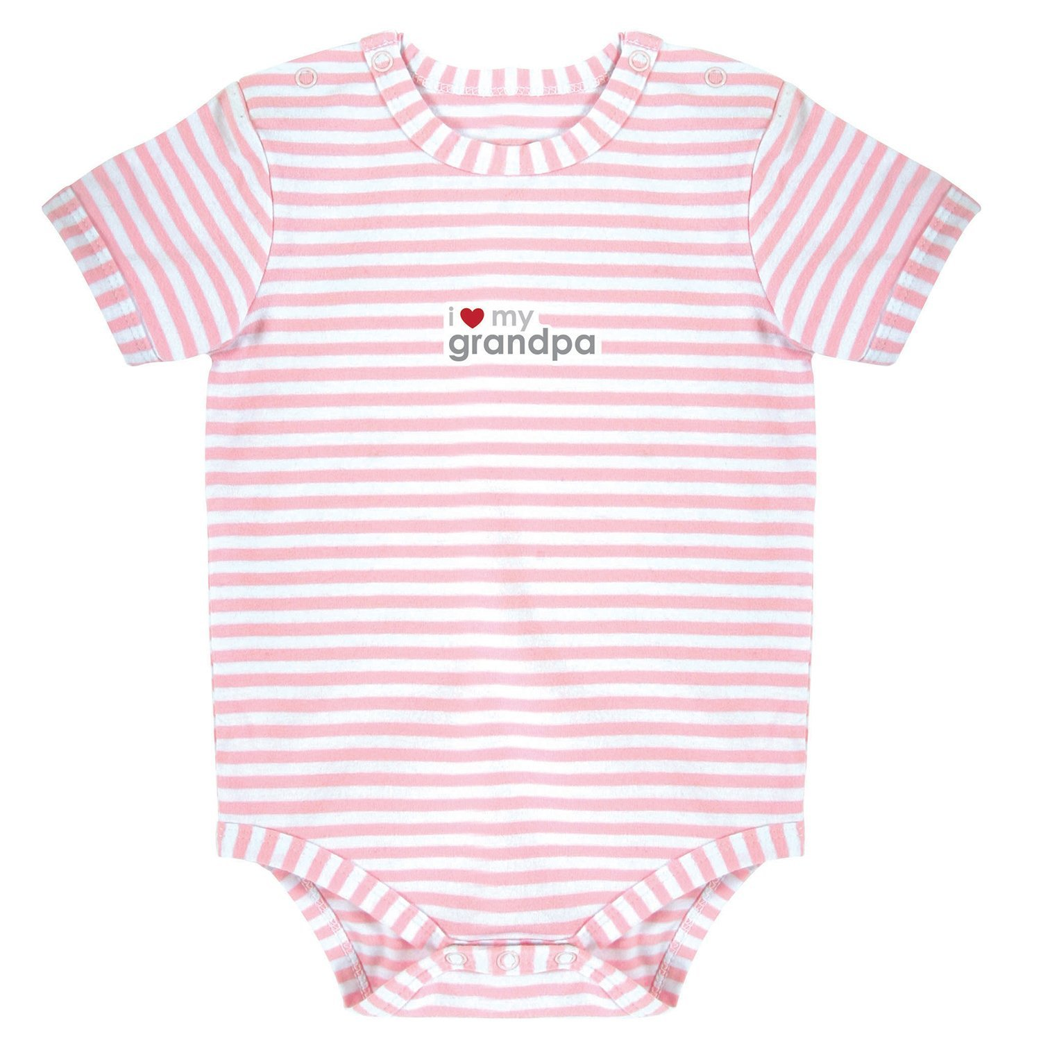 Stephan Baby Pink Stripe Snapshirt-Style Diaper Cover, I Love My Grandpa, 0-3 Months