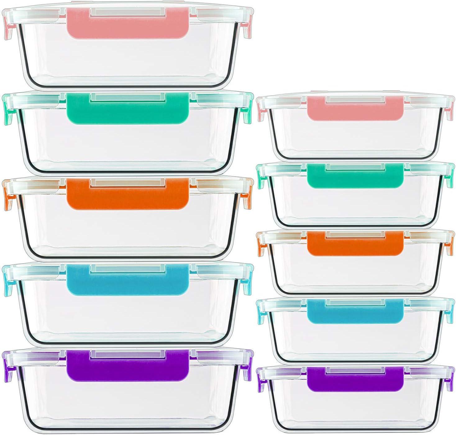 Senza BPA Congelatore CREST Set di 10 contenitori per Alimenti in Vetro 20 Pezzi Microonde 10 contenitori + 10 coperchi Coperchi Trasparenti Adatto per lavastoviglie