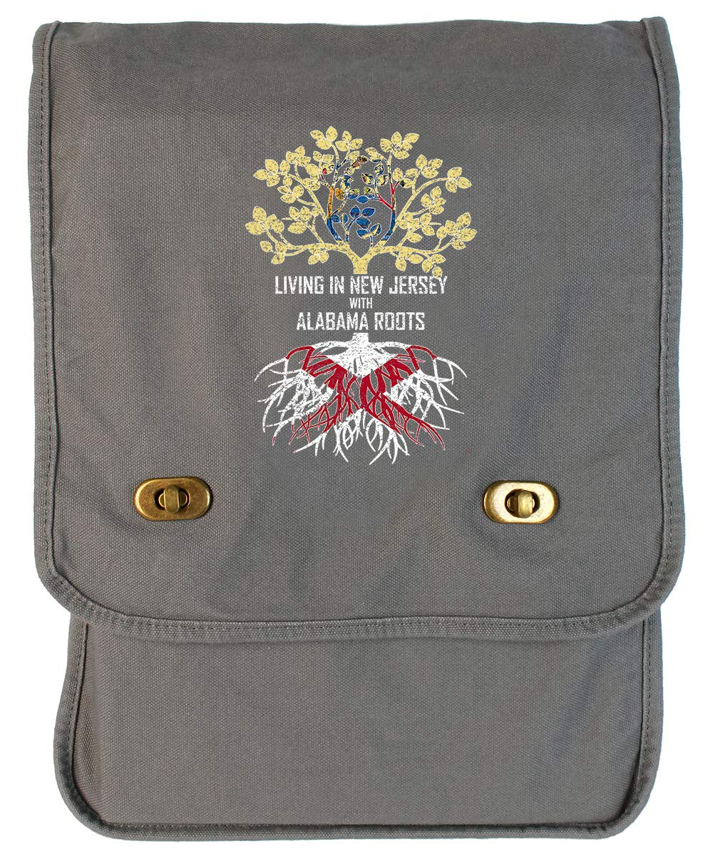 Tenacitee Living In New Jersey with Alabama Roots Grey Brushed Canvas Messenger Bag