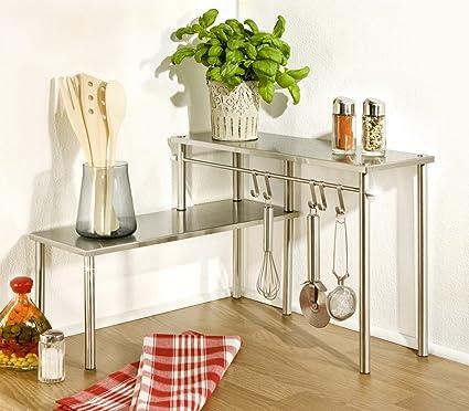 Wenko - Scaffale ad angolo da cucina, con 2 ripiani, in acciaio INOX ...