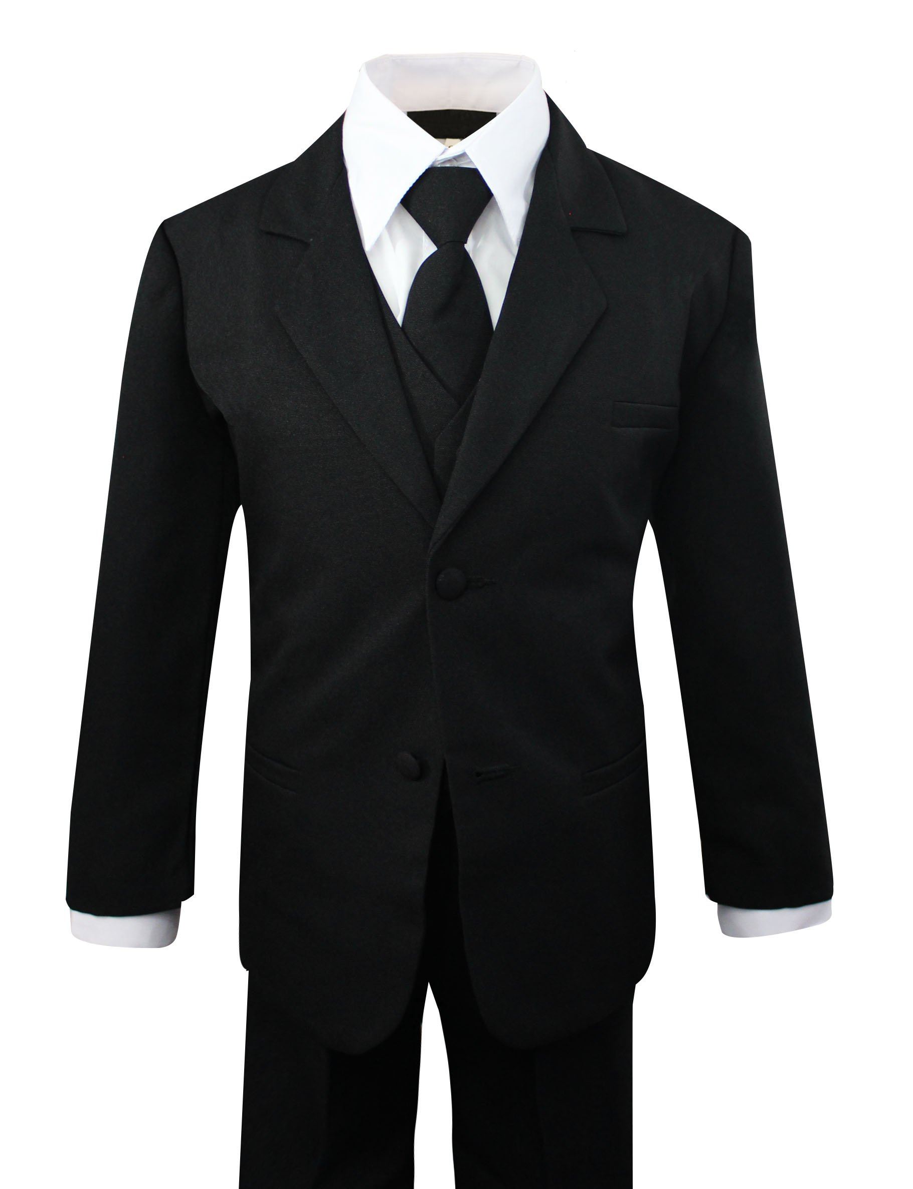Luca Gabriel Toddler Boys' 5 Piece Classic Fit No Tail Formal Black Dress Suit Set with Tie and Vest - Size 3T