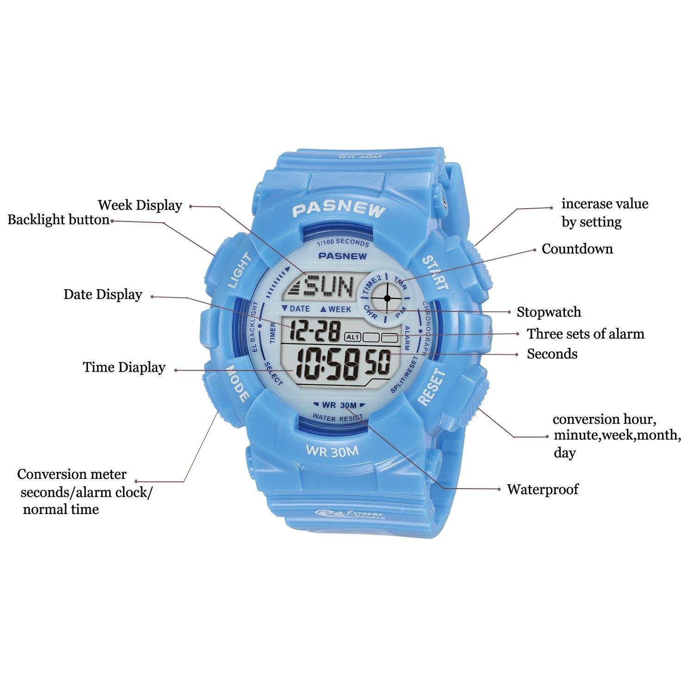 Kid s de los relojes digitales reloj deportivo, reloj digital, características Swim, luz, impermeable niños y niñas reloj: Amazon.es: Relojes