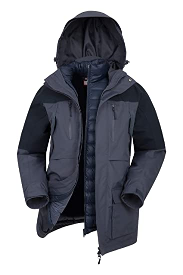c86a66403 Mountain Warehouse Correspondent Mens Down 3 in 1 Jacket - Padded Coat,  Waterproof, Breathable Outerwear, Detachable Hood, Pockets - Winter  Clothing ...