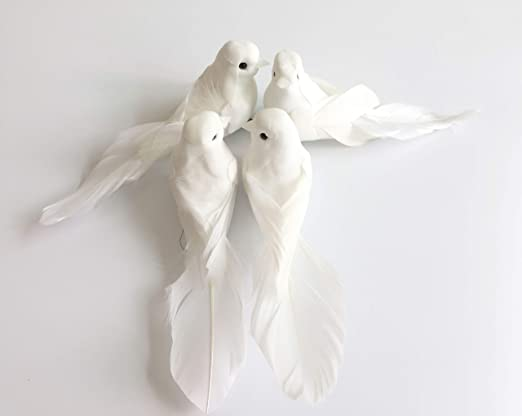 12 Small Feather Doves Love Birds Wedding Craft Cake Decoration Artificial White