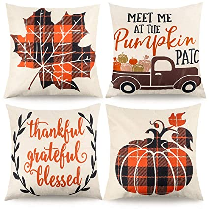 CDWERD 4pcs Fall Pillow Covers Decorative Farmhouse Autumn Theme Throw Pillow Case Cushion Cover Maple Leaf Pumpkin Cotton Linen Home Decor 18 x 18 Inches best autumn throw pillows