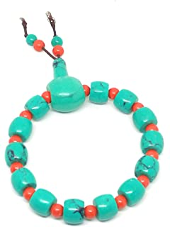 yigedan Natural 14K Gold Red Coral Bead Bracelet Necklace