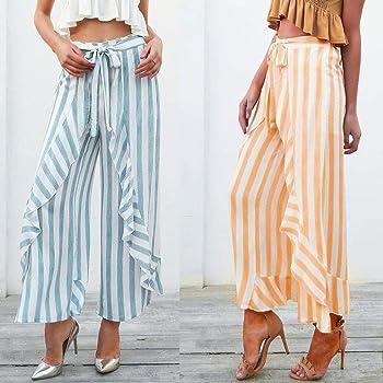 Falda Pantalon Mujer Flecos Elegante Verano Largo Alta Cintura ...