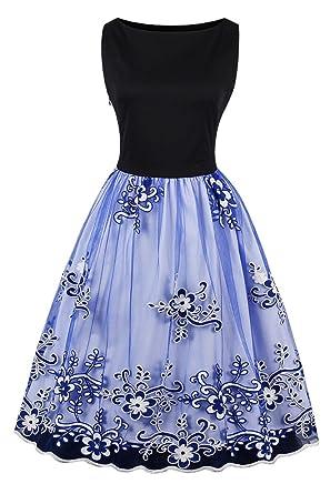Misshow 1950s Floral Vintage Hepburn Style A-line Cotton Swing Dress, Blue, S