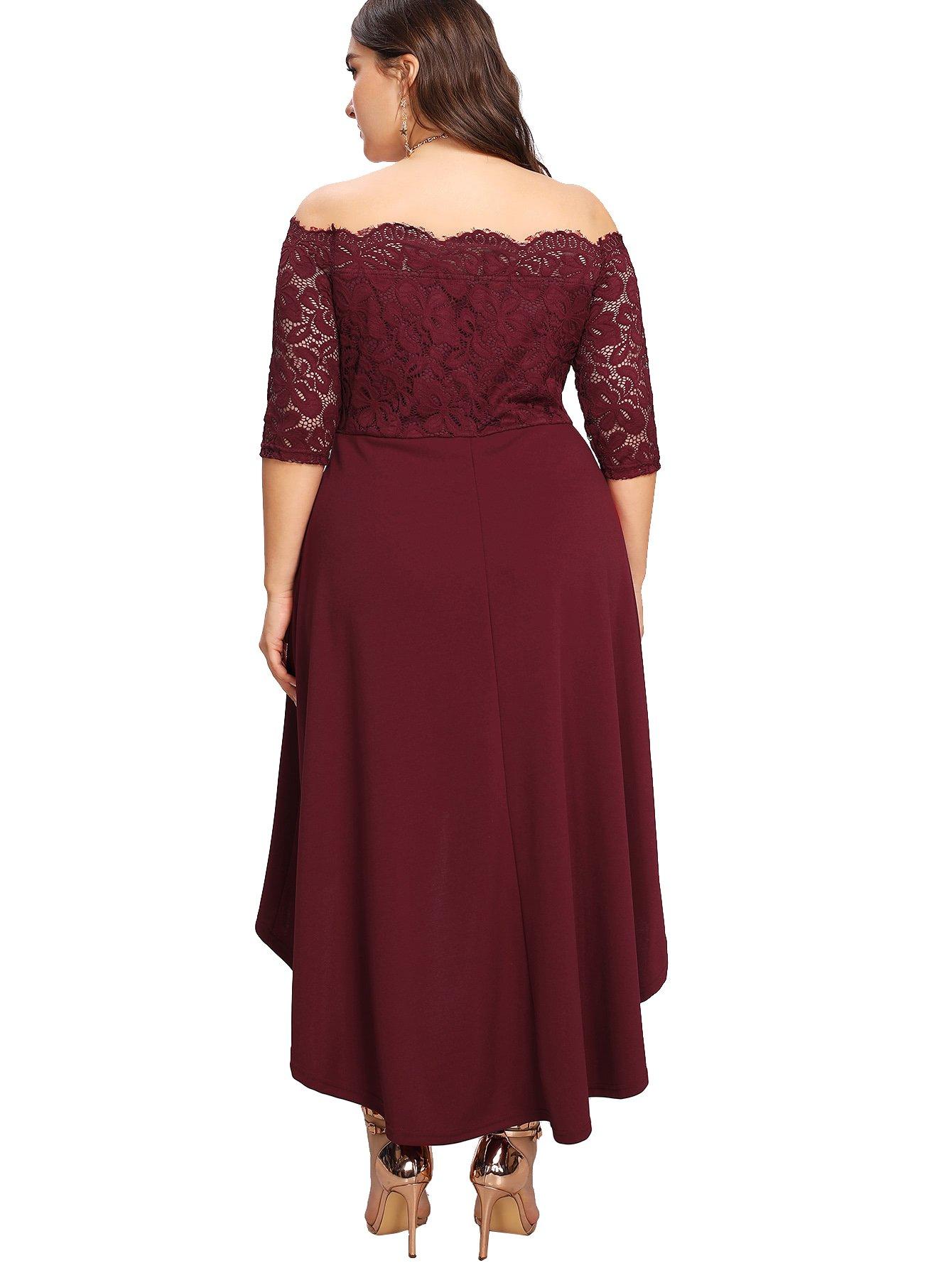 bc41d8143b35 ... Plus/Floerns Women's Plus Size Vintage Lace Dip High Low Cocktail Party  Dress Burgundy XXXXXL. ; 