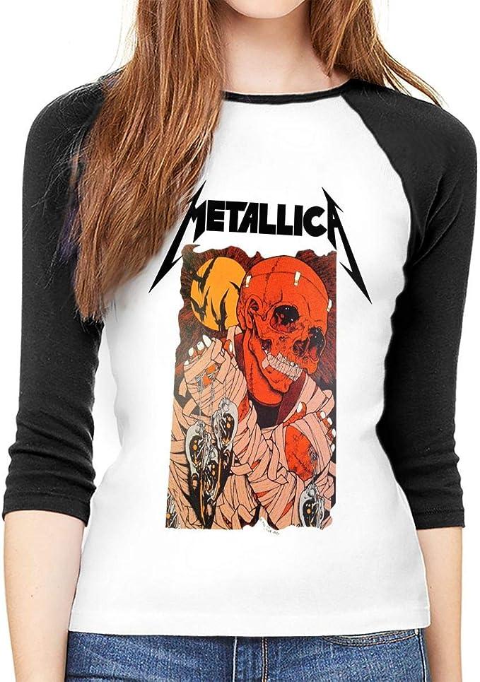 Camisa de Manga Larga para Mujer, de AlbertV Metallica, Cuello Redondo, Camiseta de béisbol, Blusa: Amazon.es: Ropa y accesorios