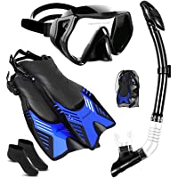 Ninetials 4 in 1 Snorkel Set for Adults with Adjustable Dive Flippers, Panoramic View Anti-Fog Mask, Dry Top Snorkel and…