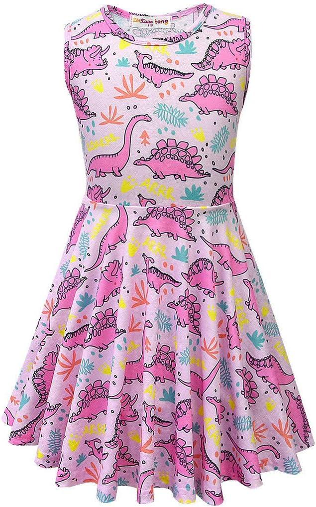 Topgrowth Vestito Bambina Stampa di Dinosauri Neonata Abiti Senza Maniche Casual Bimba Vestito Cartone Animato Abiti Bambina Estivi Outfits