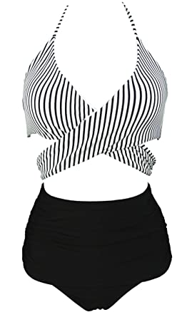 d9032c75f0c65 COCOSHIP Black & White Striped Women's Vintage Ruched High Waist Bikini Set  Criss Cross Push Up