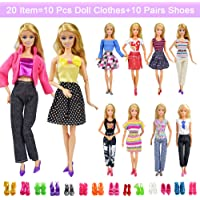 20 Items 10 Pcs Fashion Handmade Doll Clothes Set Outfits Party Dress and 10 Pairs Doll Shoes Different Doll Accessories for 11.5 Inch Girl Doll Set B