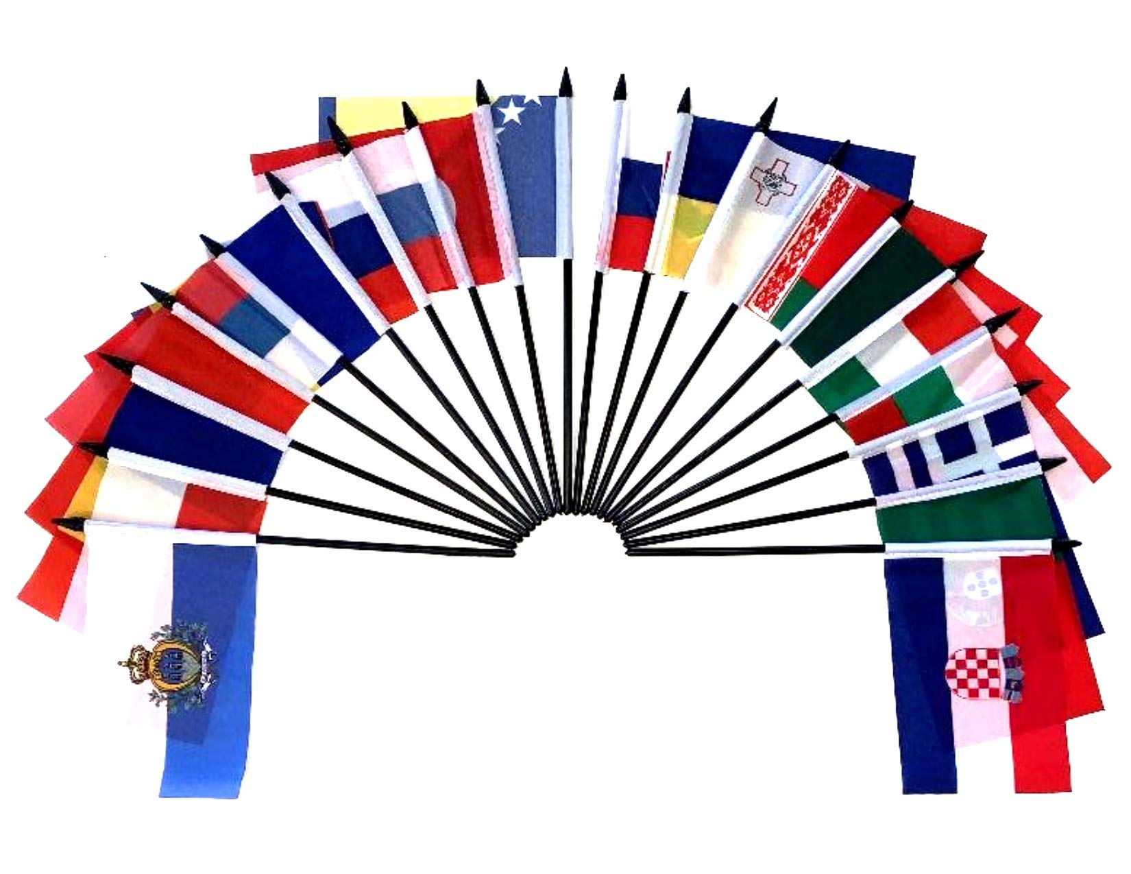 Southeast Europe World Flag SET-20 Polyester 4''x6'' Flags, One Flag for Each Country in Southeast Europe 4x6 Miniature Desk & Table Flags, Small Mini Stick Flags