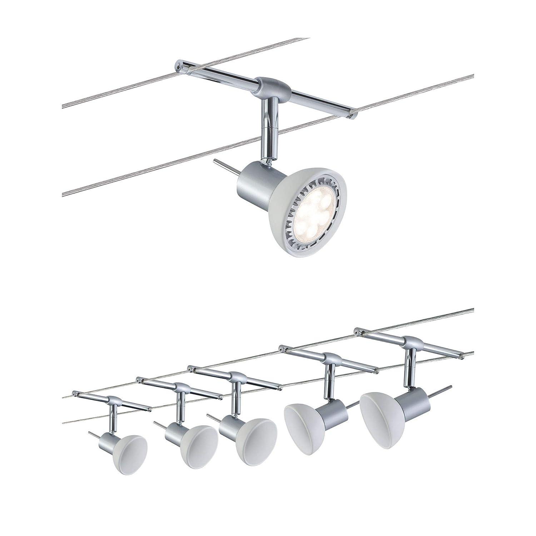 Paulmann 941.36 Seilsystem Sheela Set erweiterbar max5x10W Chrom matt//Opal 94136 Seilleuchte H/ängeleuchte