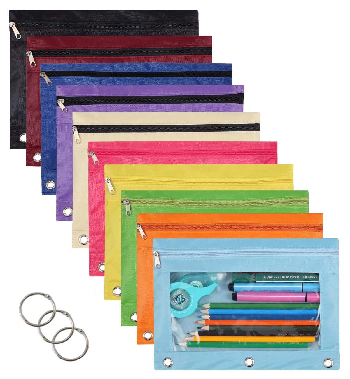 WODISON 10 Packs 3 Ring Pencil Pen Pouches School Class Binder Pocket Case Office Stationery Bag with 10 Colors