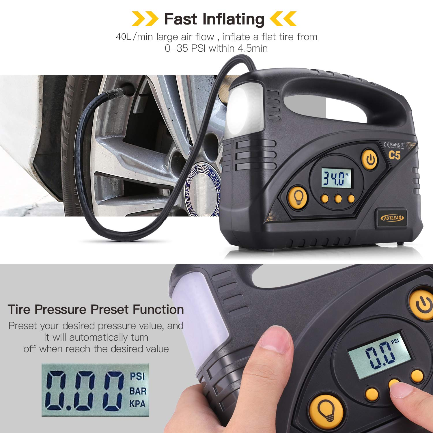 AUTLEAD C5 Digital Tire Inflator, 40L/min Portable Air Compressor Pump, 12V DC Auto Tire Pump with Pressure Gauge, LED Light, 4 Adaptors for Car, Bicycle, Motorbike and Others by AUTLEAD (Image #3)