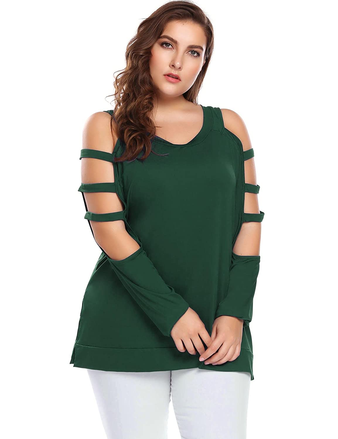 6423aa4589df IN'VOLAND Women's Plus Size Long Sleeve Cut Out Cold Shoulder Slit Pullover  Tops Casual Blouse at Amazon Women's Clothing store: