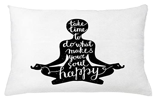 Yoga Throw Pillow Cushion Cover, Black Silhouette with Quote ...