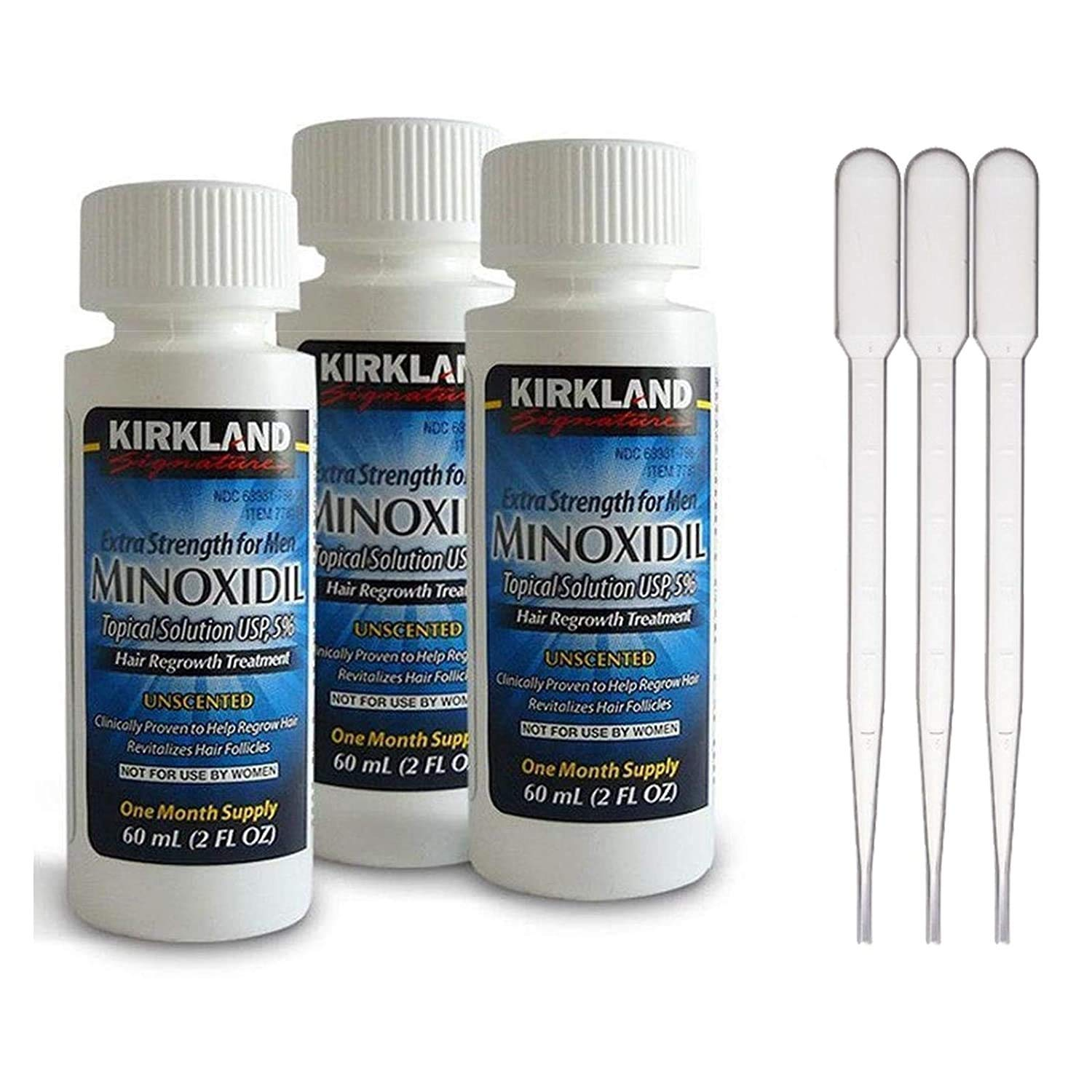 Minoxidil-5% Extra Strength Hair Regrowth - 3 Count 2 oz Bottle (3 Droppers)
