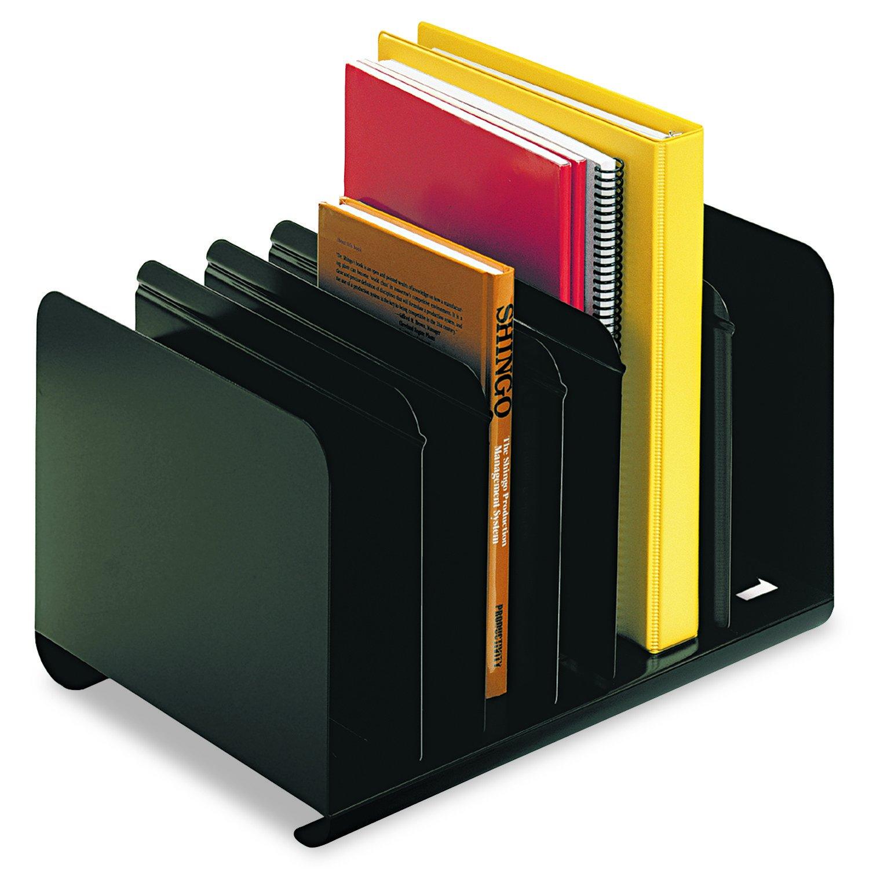 SteelMaster 26413BRBLA Six-Section Adjustable Book Rack, Steel, 15 x 11 x 8 7/8, Black