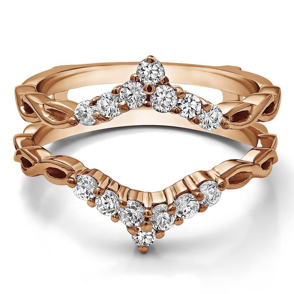 TwoBirch Infinity Chevron Ring Guard Enhancer with 0.45 carats of Cubic Zirconia in Rose Gold Plated Sterling Silver