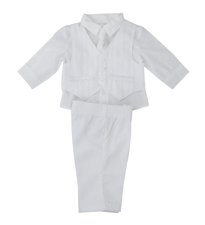 Baby Boys White Elegant 4 piece Christening Suit