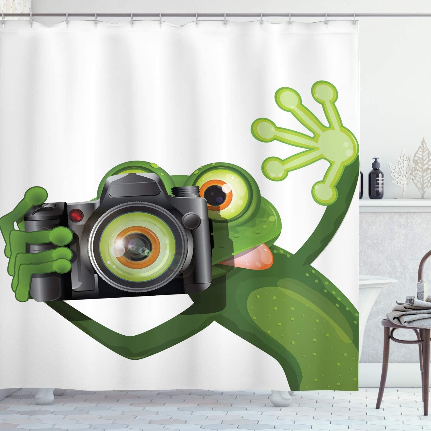 Ambesonne Animal Shower Curtain, Photographer Merry Green Frog Taking a Picture with His Funny, Cloth Fabric Bathroom Decor Set with Hooks, 84 Long Extra, Kelly Green