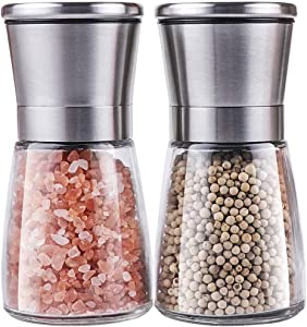 Yikko Salt and Pepper Grinder Set - Premium Stainless Steel Salt and Pepper Mills with Adjustable Coarseness - Salt Grinders and Pepper Shaker Mills(2 pcs)