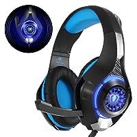 Beexcellent GM-1 - Auriculares Gaming para PS4 PC, Cascos Ruido Reducción de Diademas Cerrados Profesional con Micrófono Limpio Sonido 3.5mm, Azul