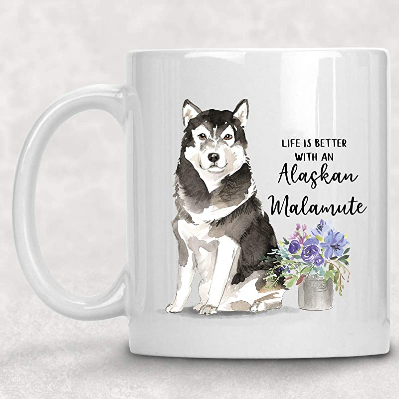 Watercolor Life Is Better With An Alaskan Malamute Mug Dog Lover Coffee Cup Gift For Her Handmade