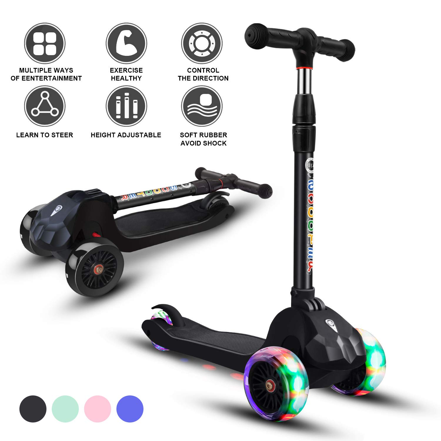 Scooter for Kids Kick Scooters Toddler Scooters 3 Wheels Adjustable Height Handle Scooter Lean to Steer with PU Flashing Wheels Wide Deck Scooters for Boys Girls Children from 3 to 9 Year Old (Black) by Glaf