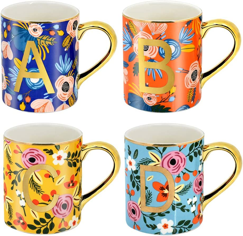 HZXVOGEN Mugs Set of 4 12oz Floral Mugs Coffee Cups for Coffee Tea Cocoa Home Office Use