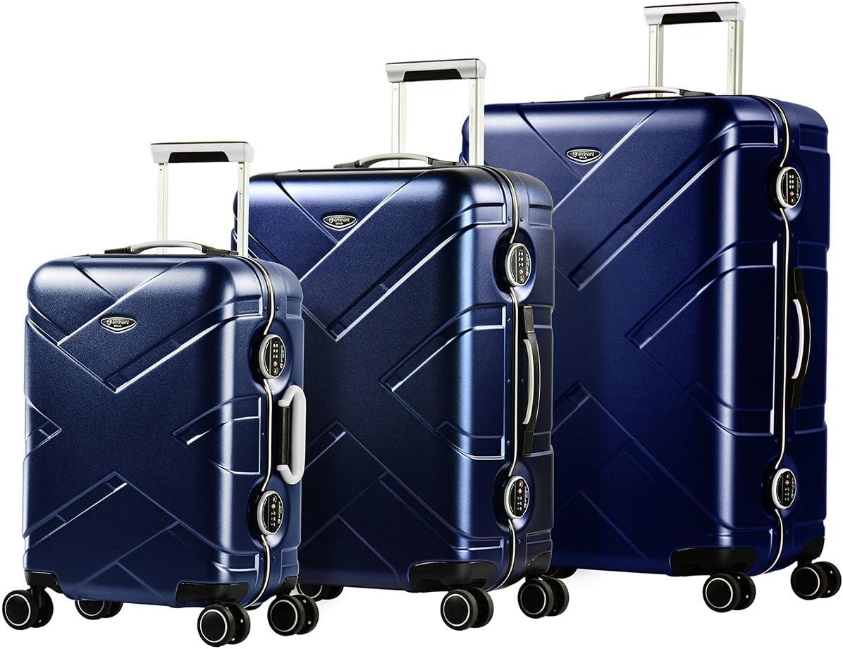 Eminent Gold Juegos de Maletas Crossover 3 Piezas Policarbonato & Marco de Aluminio rígido 4 Ruedas giratorias 360° Azul/Gris
