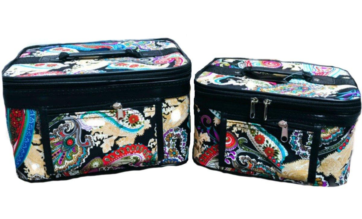 2beYOUnique Cosmetic Bag 2 Piece Portable Travel Paisley Black Makeup Train Case