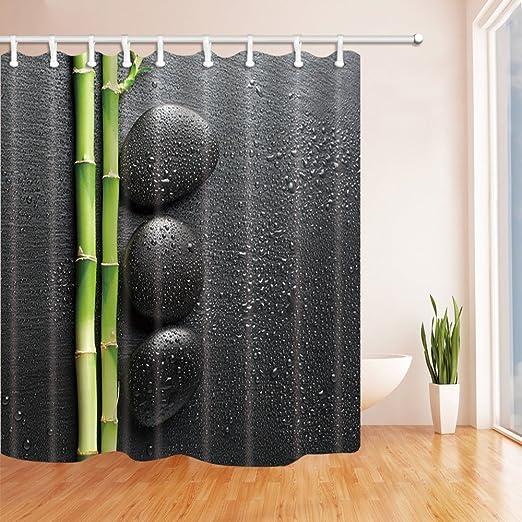 Nyngei Decoración del SPA Tema de jardín Zen Piedra y bambú sobre Negro Cortina de Ducha Tejido de poliéster Resistente al Moho Decoraciones 180X180CM Verde: Amazon.es: Hogar